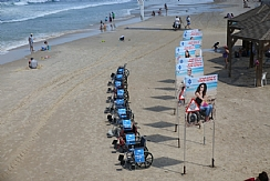 signs on the shoreline and wheelchairs half-sunken