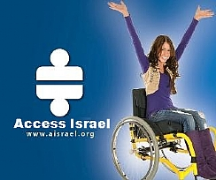 a girl in wheelchair and access israel's logo