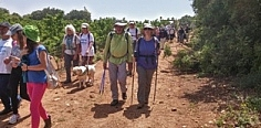 People with visual disabilities and blinds walking in 'Israel Trail'